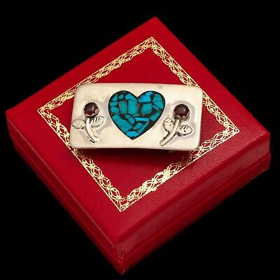 Vintage Native Sterling Silver Zuni Pawn Turquoise Inlay & Garnet Belt Buckle