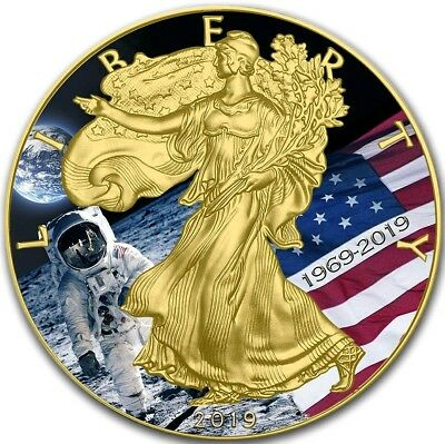 2019 1 Oz Silver $1 APOLLO 11 MOON LANDING EAGLE Coin WITH 24K GOLD GILDED.