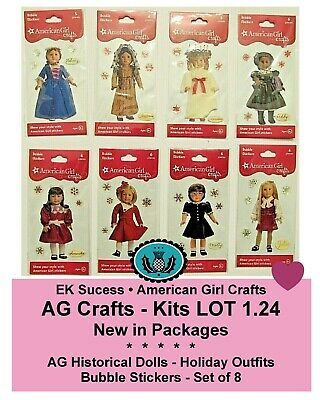 American Girl Crafts_Historical Dolls Bubble Stickers - Christmas_LOT of 8_NEW
