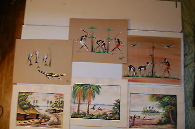Mid-Century Origin Gouache African Belgian Congo Tribal Art Folk 8pcs signed lot
