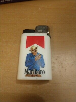 Marlboro Cigarettes White Disposable Lighter Standing Cowboy Used