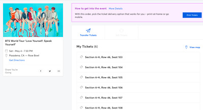 Bts Tickets Rose Bowl Pasadena Section 6H - Row 46  - 6 Tickets Available