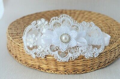 Baby white bow with Diamante pearl sequin lace hairband for Christening Handmade