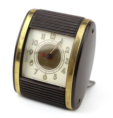 Vintage WESTCLOX 1950's Travel Alarm Clock Roll Door Mid Century Wind Up Brown