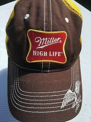 9e9088f6ff060 Miller High Life Mesh Trucker Hat Snapback Brown   Yellow Cap One Size Fits  Most