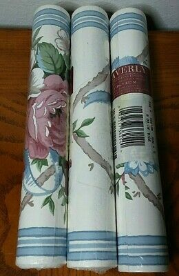 Waverly Jacobean Wallpaper Border Bold Floral Rose Blue Pre Pasted 9