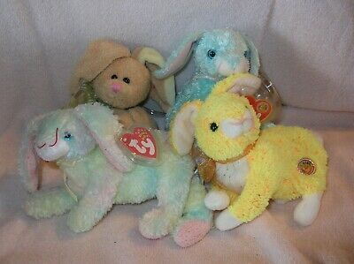 TY Beanie Babies - BUTTERCREAM, COTTONBALL, HOPSON, AND SPRING 5 TO 8.5 inch.