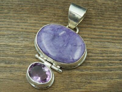 Large Sterling Silver Purple Charoite and Amethyst Pendant