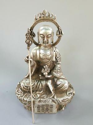 Chinese exquisite Tibetan silver Copper tang SAN Tibet Buddha crafts statue