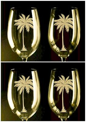 palm tree wine glasses, (set of 2) 12oz, etched Handcrafted