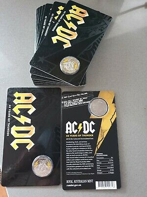 2018 50 Cent AC/DC Coloured Uncirculated Coin - 45 Years of Thunder!