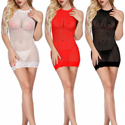 Sexy Women Net Sleepwear Lingerie Nightwear Underwear G-string Babydoll Dress AU