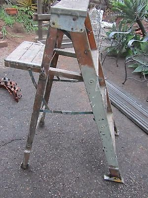 Vintage Wood Step Ladder Primitive Chic Country Old Paint Shabby Chippy Shelf