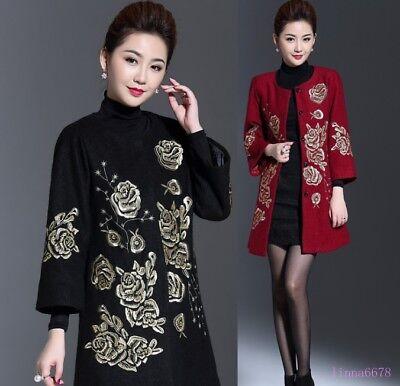 Womens Chinese Style Flower Embroidery Wool Trench Overcoat Long Coat Jackets