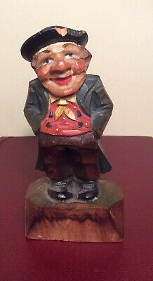 """Antique WTG Austrian Wienna Hand Carved Wood Painted Man Figurine Anry Style 5"""""""