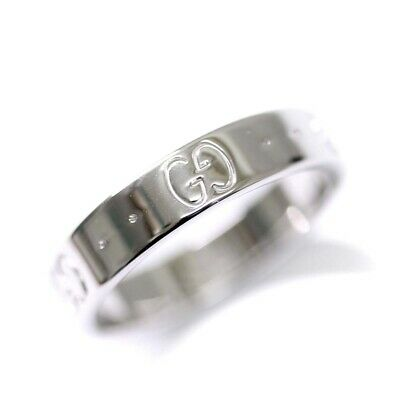 d2c94b195 NEW GUCCI LOGO Icon 18K White Gold Mens Wedding Band Ring Sz 9.5/T61 ...