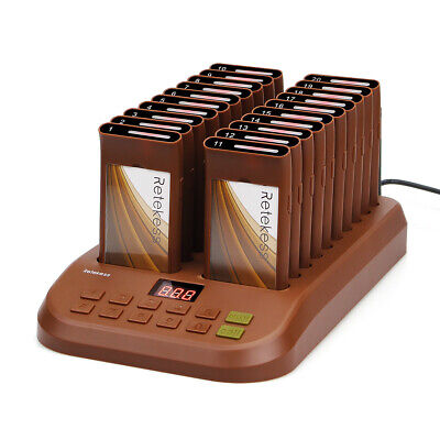 Restaurant Wireless Paging Queuing Waiter Calling System W/ 20*Coaster Pagers UK