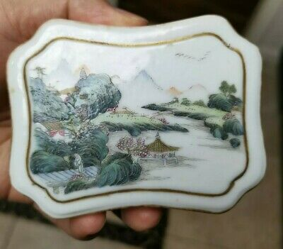 Chinese Estate Old House Antique Qianlong Porcelain Box Marked Asian China