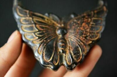 Chinese Hongshan Culture Magnetic Jade Stone Carved Butterfly Pendant