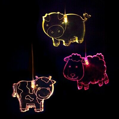 Mobile Farmyard - (Sheep, Cow and Pig) Triple Colour changing LED Lights / timer