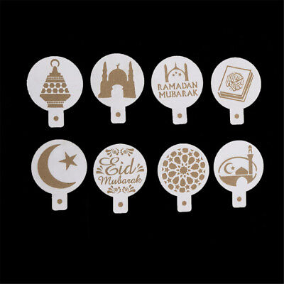 8pcs/set Mosque Eid Mubarak Ramadan Design Coffee Stencils Cake Templates N IO