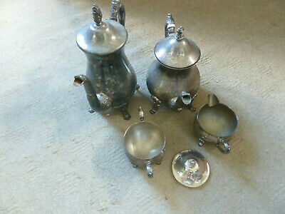 antique silverplate tea & coffee set with sugar and cream