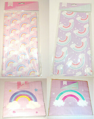 RAINBOWS & CLOUDS PARTY Table Cover 180 x 120cm 10 / 20 PAPER NAPKINS Pink Lilac