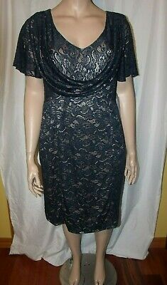 Nwt Plus Size 20w JS Collections Blue Floral Overlay & Gold Lining Dress
