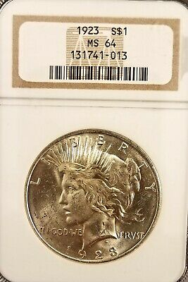 1923 $1 Peace Silver Dollar NGC MS-64 90% Silver
