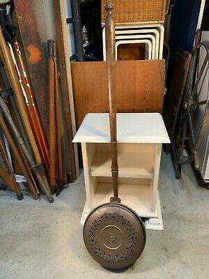 Antique English Victorian Copper & Turned Timber Handled Bed Warmer