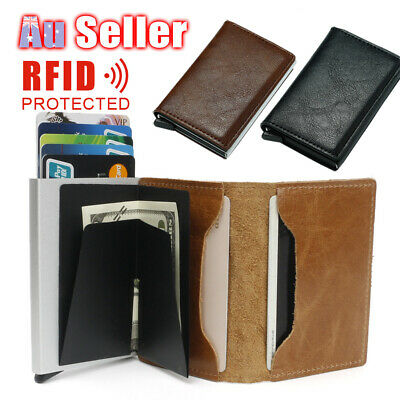 PU Leather Package Automatic Cash Alloy Credit Card Holder Wallet Aluminum Money