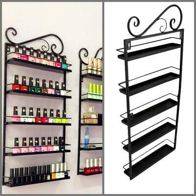 New 5 Tier Wall Mounted Nail Polish Rack Organizer Display Shelf Stand Black