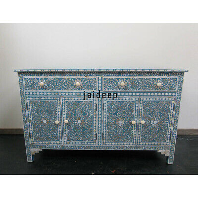 Handmade Handicraft Mother of Pearl inlay Blue Floral Chest of Drawer