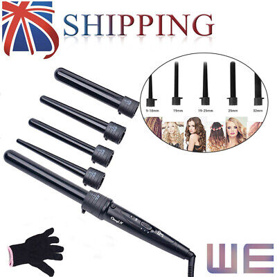 5IN1 Hot Pro Ceramic Hair Curling Wand Hair Salon Curlers Tong Styler Styling