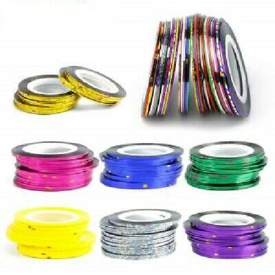 Nail Sticker Rolls Striping Tape Nail Art Plain / Holographic - 37 Colours Uk