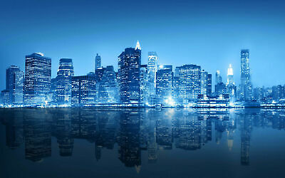 Reflective New York City Skyline in Blue Art Silk Poster 12x18 24x36