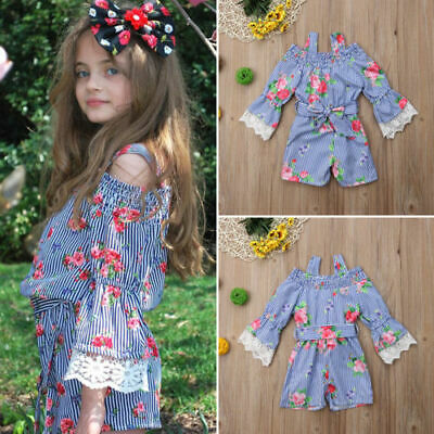 US Toddler Kids Baby Girls Summer Lace Flower Jumpsuit Bodysuit Outfits Clothes