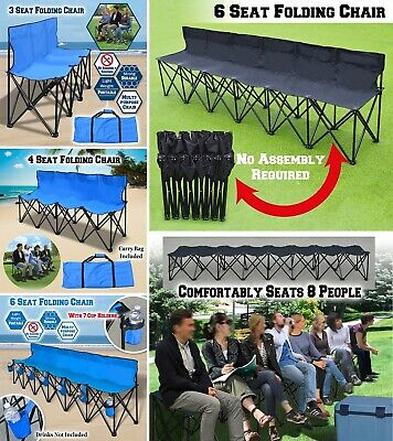 Amazing Folding Chair Sports 6 Seater Sideline Portable Bench W Cup Dailytribune Chair Design For Home Dailytribuneorg