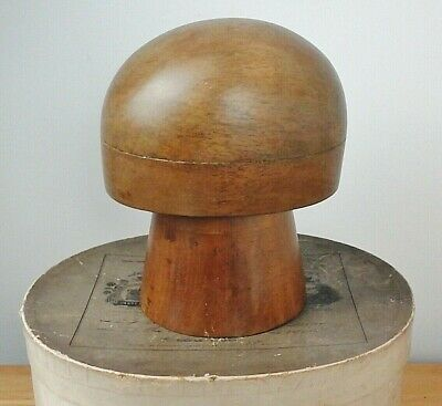 Lovely Vintage Wooden Hat Block/Form + Stand, Nice Patina, Displays Well.