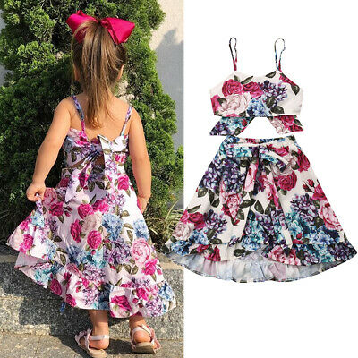 AU Toddler Kids Baby Girl Floral Sling Tops Skirt Dress 2Pcs Outfit Clothes 1-6Y
