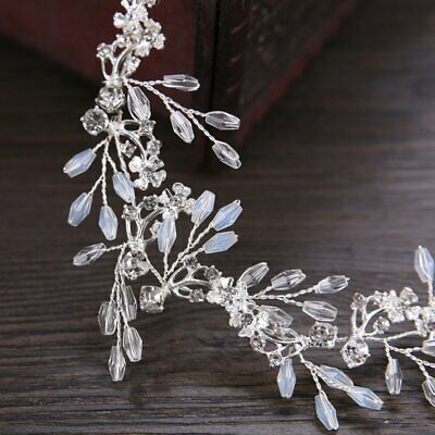 Bride White Crystal Handmade Hairband Bridal Wedding Dress Accessories FN