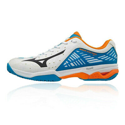 premium selection d5cfe ca4dc Mizuno Mens Wave Exceed 2 Clay Court Tennis Shoes Blue Orange White Sports