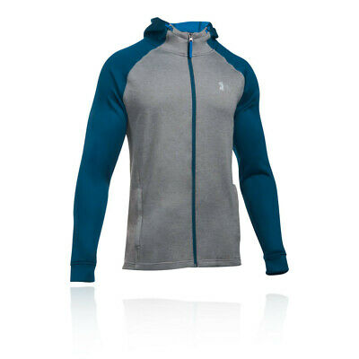 Under Armour Mens Terry Fitted Full Zip Hoodie Grey Navy Blue Sports Gym Hooded