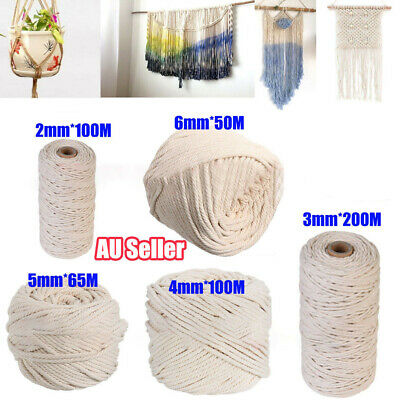 2/3/4/5/6mm Macrame Rope Natural Beige Cotton Twisted Cord Artisan Hand Craft AU
