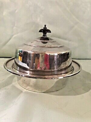VINTAGE WALKER & HALL1940s Silver Plated MUFFIN /WARMING DISH - Ebony Handle