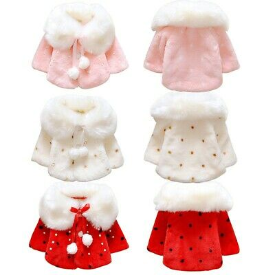 Infant Baby Girls Winter Warm Coat Cloak Jacket Toddler Thick Warm Clothes 0-3Y