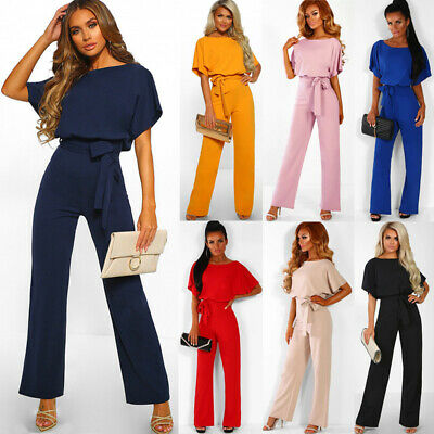 AU Womens Casual Wide Leg Jumpsuit Ladies Evening Party Long Playsuit Size 6-20
