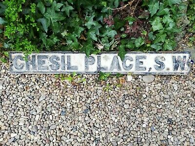 Victorian Cast Iron Street Sign - Chesil Place S.w.' London
