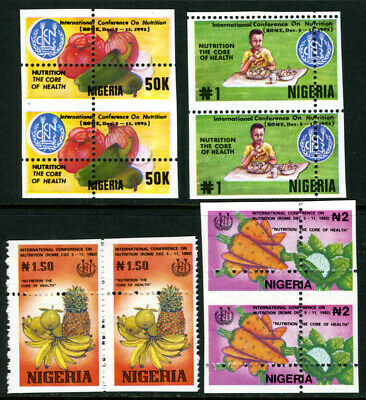 Nigeria 1992 Mnh set PERFORATION MISPLACED International Conference on Nutrition