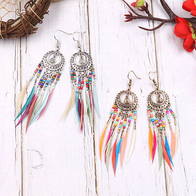 Ethnic Style Rainbow Colors Feather Dangle Earrings Party Jewelry Accessories Z